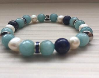 St-Thomas bracelet / Natural beads Blue Jade / Lapis Lazuli / white Akoya pearls / 8mm