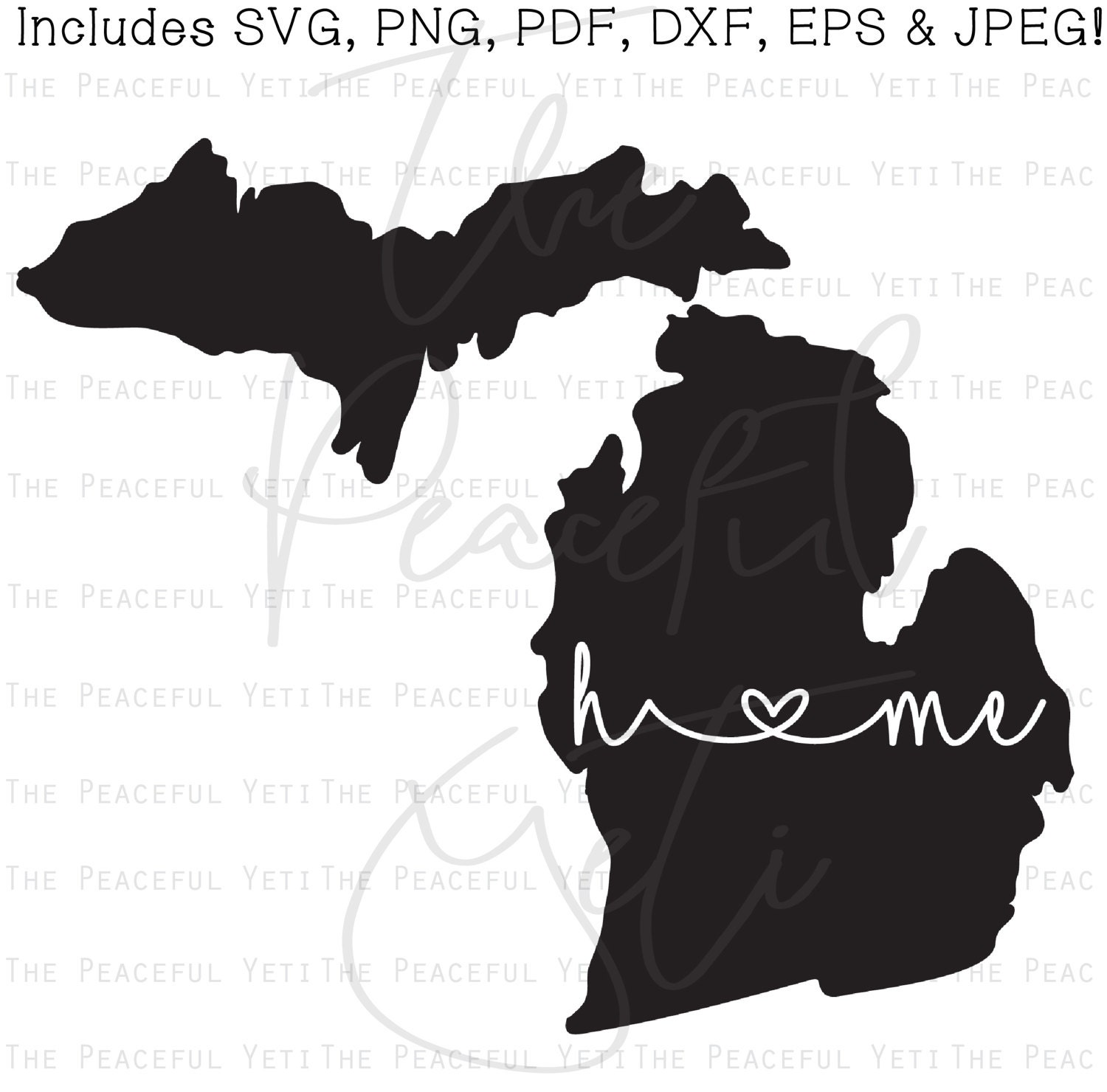 Michigan Home State Svg State Home With Heart Instant