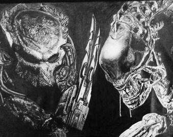 Drawing of Alien Vs Predator ( Framed Print )
