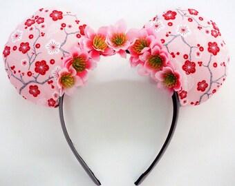 Cherryblossom Mickey/Minnie Ears, Flower Ears, Flower and Garden Festival