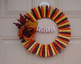 13-inch Fall clothespin wreath