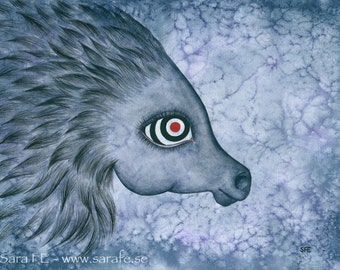 Liv - ORIGINAL watercolour painting - horse with bull's eye - pop surrealism
