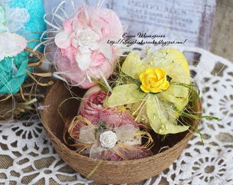 Easter Eggs.Shabby chic. Easter Home Decor.Decorative Easter Eggs.Easter Gifts.Easter Decorations. Wooden eggs.yellow pale pink