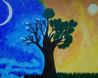 Painting acrylic, day and night, summer and winter