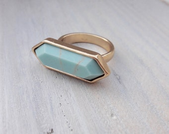 Ring gold plated geometric with turquoise stone