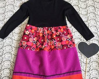 Girls tiered Winter dress. Skivvy top. Vintage corduroy girls loose dress in black, mauve, pink and orange. Tiered winter skirt.
