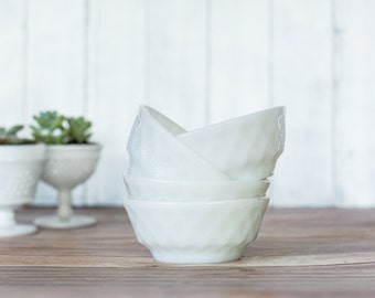 Vintage Anchor Hocking Diamond Embossed Milk Glass Bowls