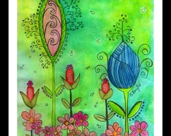 Whimsical Flowers - Print 5x7