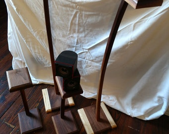 Speaker Stands - Home Theatre - Computer Speakers - Solid Walnut - Free Shipping to Lower 48 States