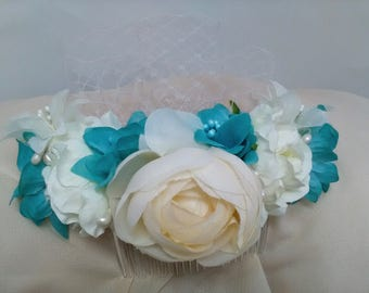 Headdress for bride with delicate flowers and white snood. Touched for the hair. Valentine's Day gift. Hair Ornament