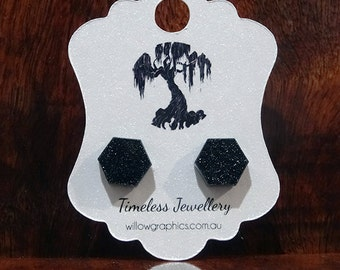 Black Hexagon Earring Studs