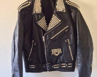 Men's Studded Black Leather Motorcycle Jacket