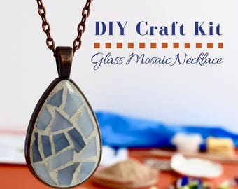 Complete Jewelry Making Kit, Glass Mosaic Necklace Activity Choose Your Own Color -Pastel Color Options, Gift for Crafter DIY Jewelry Kit