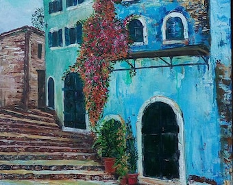 Greek village 50x70 cm 2016 Original acrylic painting on cotton canvas Living room Decor Art in Interior Old town stone staires painting