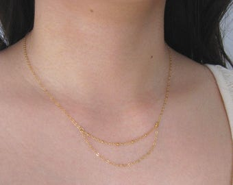 Thin Chain Necklace, Gold Necklace, 14k Gold Filled Necklace, Layered Chain Necklace, Simple Necklace, Layering, Delicate Chain Necklace