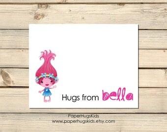 Trolls Stationery - Trolls Note Cards - Personalized Note Cards - Personalized Thank You Cards - Trolls Notecards - Poppy / Set of 10