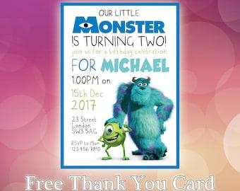 Monsters Inc Invitation / Monsters Inc Invite / Monsters Inc Party / Monsters Inc Birthday / Modern Contemporary Birthday Invitation / MI03