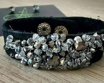 SALE Handmade Bracelets, Leather Bracelets, Crystal Bracelets, Swarovski Bracelets, Leather Cuff