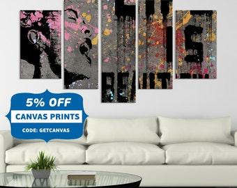 Pop-Art, Pop Art Canvas, Original Abstract Painting, Original Art Work, Painting Pop Art , pink art, original canvas,  Home Decoration,