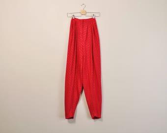 Silk Harem Pants, 60s Silk Pants, Vintage 1960s Pants, High Waisted Pants, Magenta Silk Pants, Elegant Silk Pants, 1960s Tapered Pants
