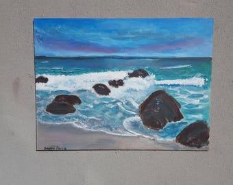 Acrylic seascape on wood panel