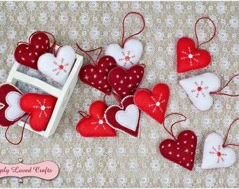 Felt Hearts Christmas Decoration, Christmas Tree Ornaments