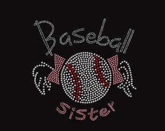Baseball Sister Pink Rhinestone Iron on Transfer                                                                MVA9