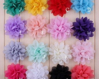 Free Shipping Artificial Chiffon Silk Flowers For Girls Hair Accessories Soft Petal Peony Fabric Flowers For Headbands Wholesale Flower 2.8""