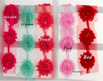 Fashion Chic Shabby Chiffon Flowers For Children Hair Accessories 3D Fabric Flowers For Headbands DIY Flower Supplies 2.6""
