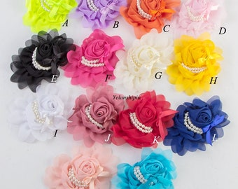 Artificial Goldfish Bowknot Chiffon Rolled Rosette Flower With Pearls Solid Fabric Flowers For Baby Headbands For Hair Clips Accessories
