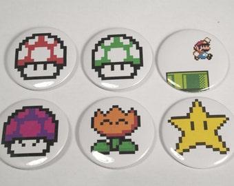 "Mario Powerup Sprites 2.25"" Buttons"