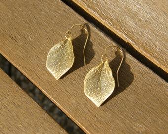 Gold plated leaf dangle hook earrings