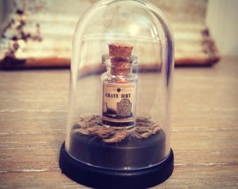 Grave Dirt - Miniature Bottle in a Dome - Potions & Spells - Curiosity  - Macabre Oddity - Oddities - Witchcraft - Curio - witch - Pagan