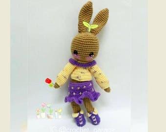 Crochet Doll Pattern, Amigurumi Doll Pattern, Stylo Miss Izzy Bunny