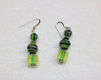 Tones of Green Beaded Dangle Earrings with Sterling Silver