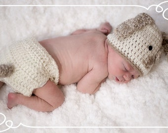 Newborn Puppy Dog Hat and Diaper Cover,  Crochet Puppy Dog Hat Set,