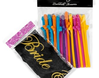 Bachelorette Party Accessories-Penis Straws and Bride to Be Sash