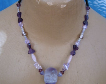 purple skull necklace with swarovski crystals, natural stones, crystal hearts, with sterling spring clasp
