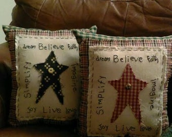 Primitive Star Embroidered Pillow