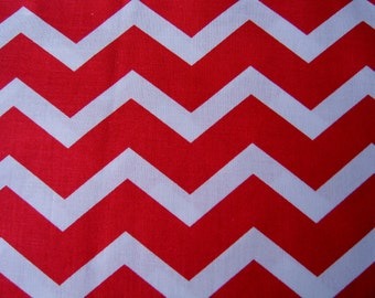 Red Chevron Fabric Quilt Calico By the Yard 36 Inches Long