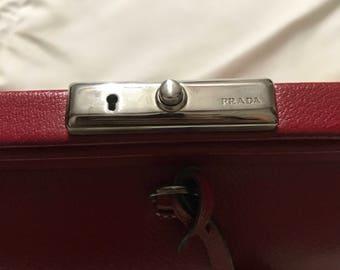 Authentic Prada small deep red leather handbag