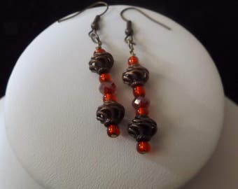 Bronze Spiral with Red Accents Drop Earrings