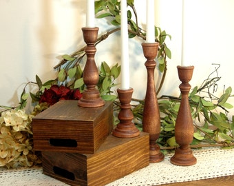 Candlestick set, Farmhouse Candles, Shabby Chic Decor, Wedding candles, Wood Candle sticks, Birthday gift,Rustic candlestick, Candle stick