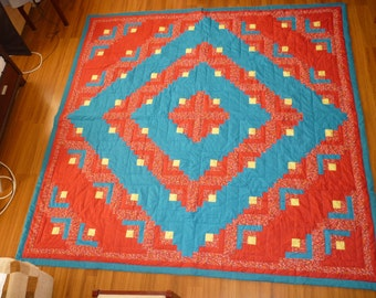 Blue and red patterned patchwork quilt