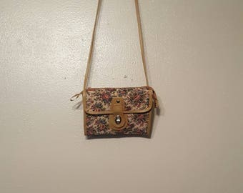 Vintage Brown floral print purse/bag