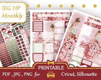 BIG Happy Planner Monthly Printable Sticker kits Pink Planner Sticker Glam Monthly Kit Printable, Silhouette, Cricut, Fashion Big HP, COUPON