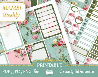 MAMBI Happy Planner stickers Weekly kit Emerald Blue pink Stickers Happy Planner Mambi Printable Full Boxes Half Boxes PDF, Silhouette