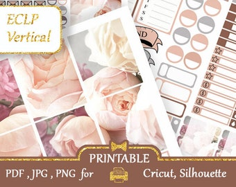 Erin Condren Planner Stickers  Weekly Kit PASTEL colors Peonies Printable Functional Planner Stickers Vertical Layout, Silhouette