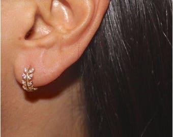 Leaf huggie. Leaf Hoop Earrings. Sterling Silver Cz earrings. Dainty Gold Vermeil Earrings. PRE-ORDER , on Back Order