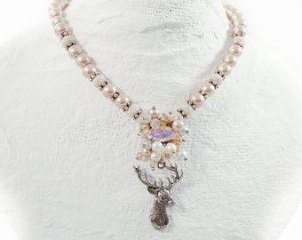 Deer necklace costume jewellery taupe